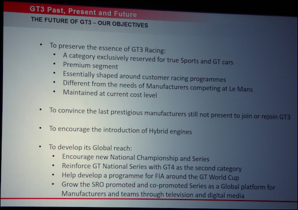 GT3 Future-Objectives
