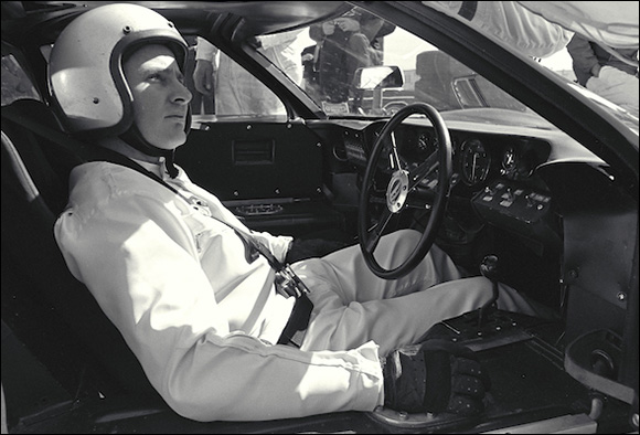 Bruce McLaren in the cockpit of a Ford Mark II