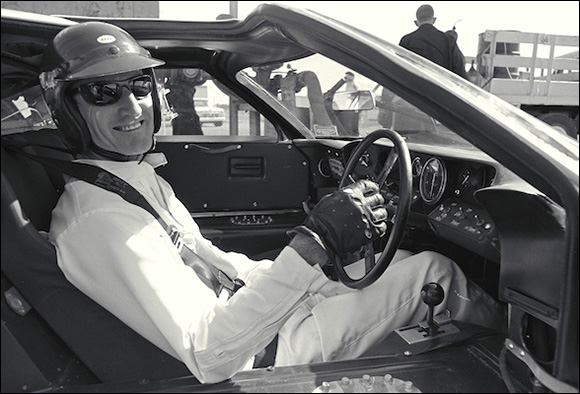 Ken Miles in the cockpit of a Ford Mark II
