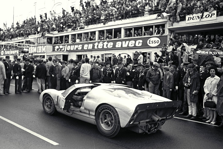 24 Hours of LeMans, LeMans, France, 1966. Second place car at victory rostrum. CD#0554-3252-3672-2.