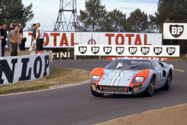 24 Hours of LeMans, LeMans, France, 1966. Ken Miles/Denis Hulme Shelby American Ford Mark II at the Mulsanne Hairpin. CD#0554-3252-2890-19.