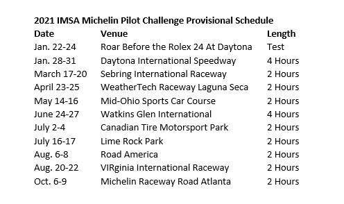 Imsa Calendar 2021 2021 Calendars For Michelin Pilot Challenge & IMSA Prototype